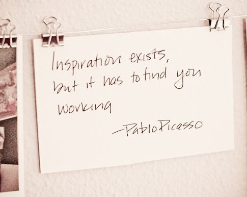 inspirationDisplay Photos, Dorm Room, Bulletin Boards, Binder Clips, Back To Work, Inspiration Quotes, Inspiration Exist, Pablopicasso, Pablo Picasso