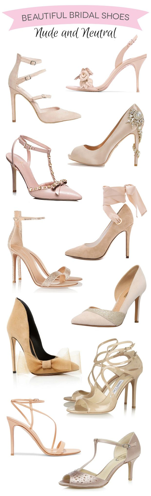 Beautiful Nude wedding shoes for brides, bridesmaids and guests // see them all…