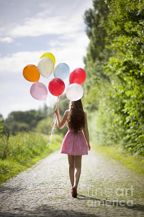 Beautiful Young Woman With Balloons Greeting Card