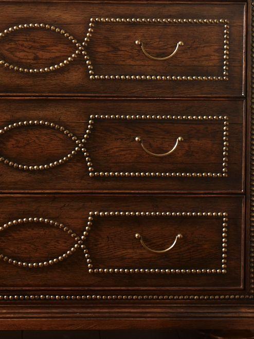 Nailhead details on the Hillandale chest.---stud design