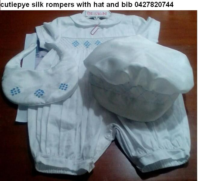 cutiepye smocked silk romper with hat and shoes $150 ring 0427820744