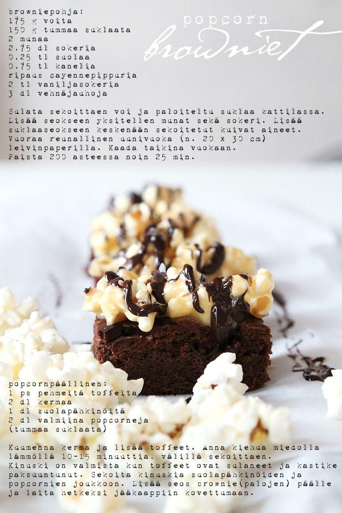 Popcorn-browniet | Vaaleanpunainen hirsitalo