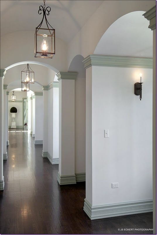 Gorgeous Hallway Dark Floors White Walls And Mint Grey