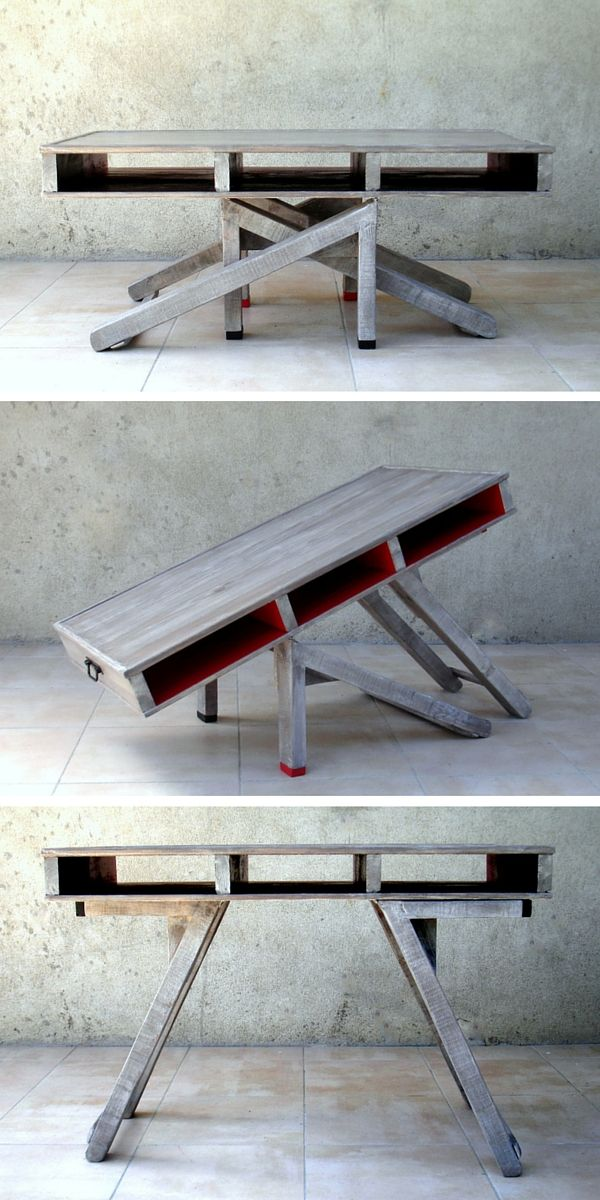 Table transformable en palette You can find more Hostel creative design ideas at http://hostelgeeks.com/creative-hostel-design-ideas/