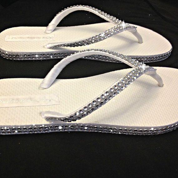 Bridal Rhinestone Flip Flops Bridesmaids by APricelessPrincess