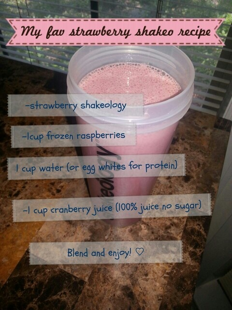 ♡Strawberry Shakeology recipe♡ Use shakeology for a healthy quick lunch; it helps kick that afternoon slump!☆