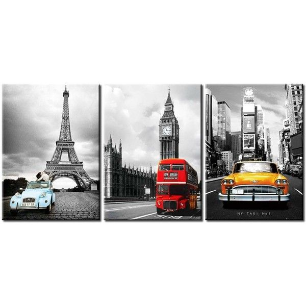 NYC and Paris Eiffel Tower Big Ben Car London Double Decker Red Bus... ($22) ❤ liked on Polyvore featuring home, home decor, wall art, eiffel tower canvas wall art, triptych wall art, car wall art, canvas panels и parisian wall art