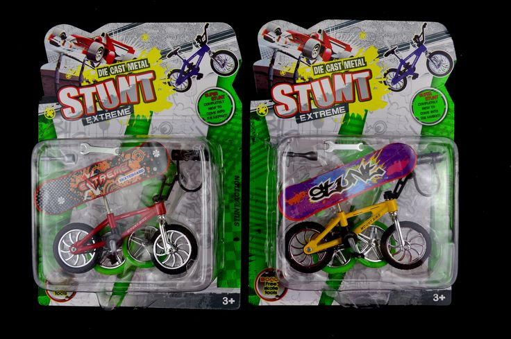 Stunt set, made of die cast metal, includes #mountain bike, 2 spare wheels, #skateboard, spanner, cross wench and lock/stand. Assorted colours, yellow, red and green $5.50 To order email sales@giftsfromyou.com.au
