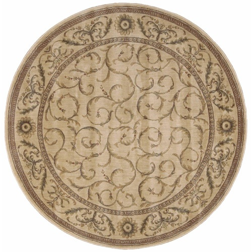Nourison Somerset Scrollwork Round Rug, Ivory - entry area? $139