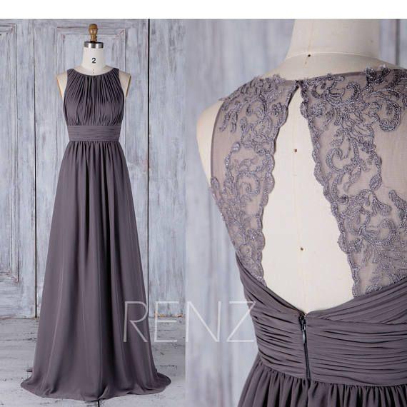 2017 Dark Gray Chiffon Bridesmaid Dress Ruched Bodice Wedding