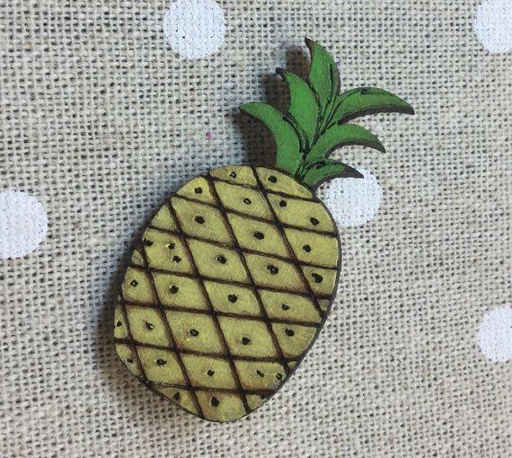 Pineapple wooden laser cut brooch tiki rockabilly by SqueakyFrog