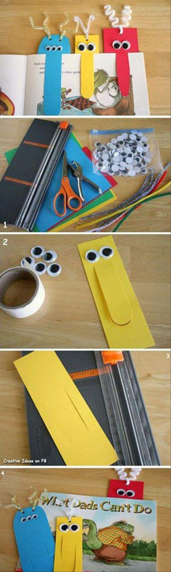To make reading more fun for your children, you can make funny cardboard bookmarks for them. Paint some cardboards in different colors, cut the middle part, glue some googly eyes and tie some ribbo…