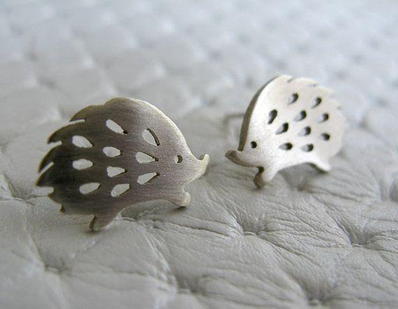 Joyería de plata esterlina Etsy pendientes - montantes hechas a mano - Hedgehog