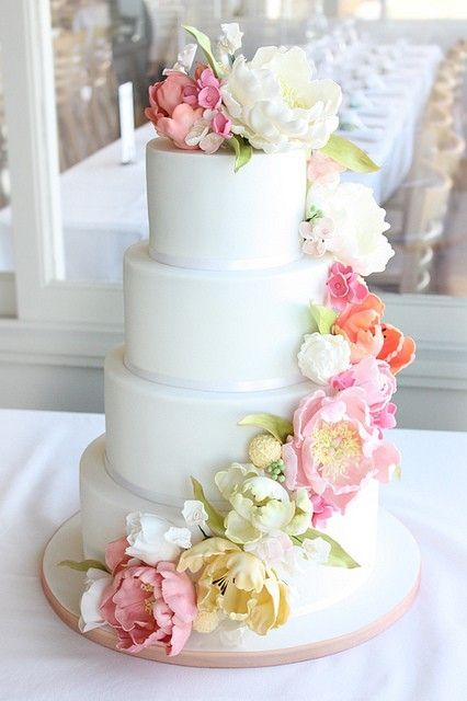 white wedding cake with pastel flowers