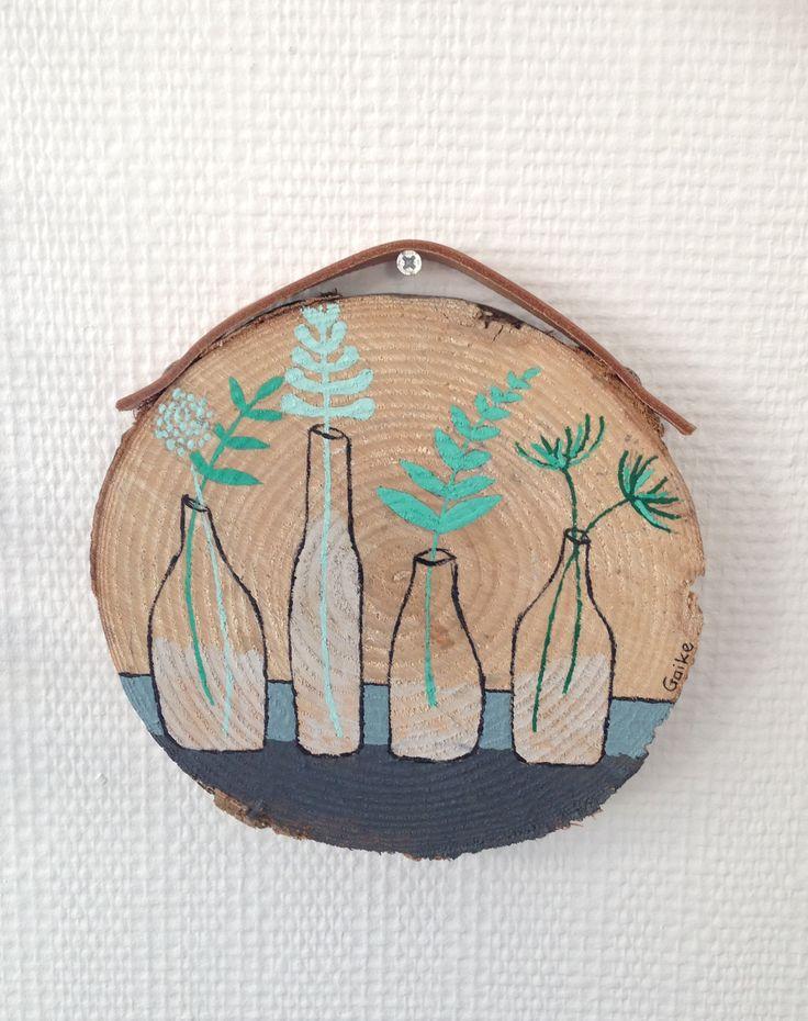 beschilderde boomstamschijven