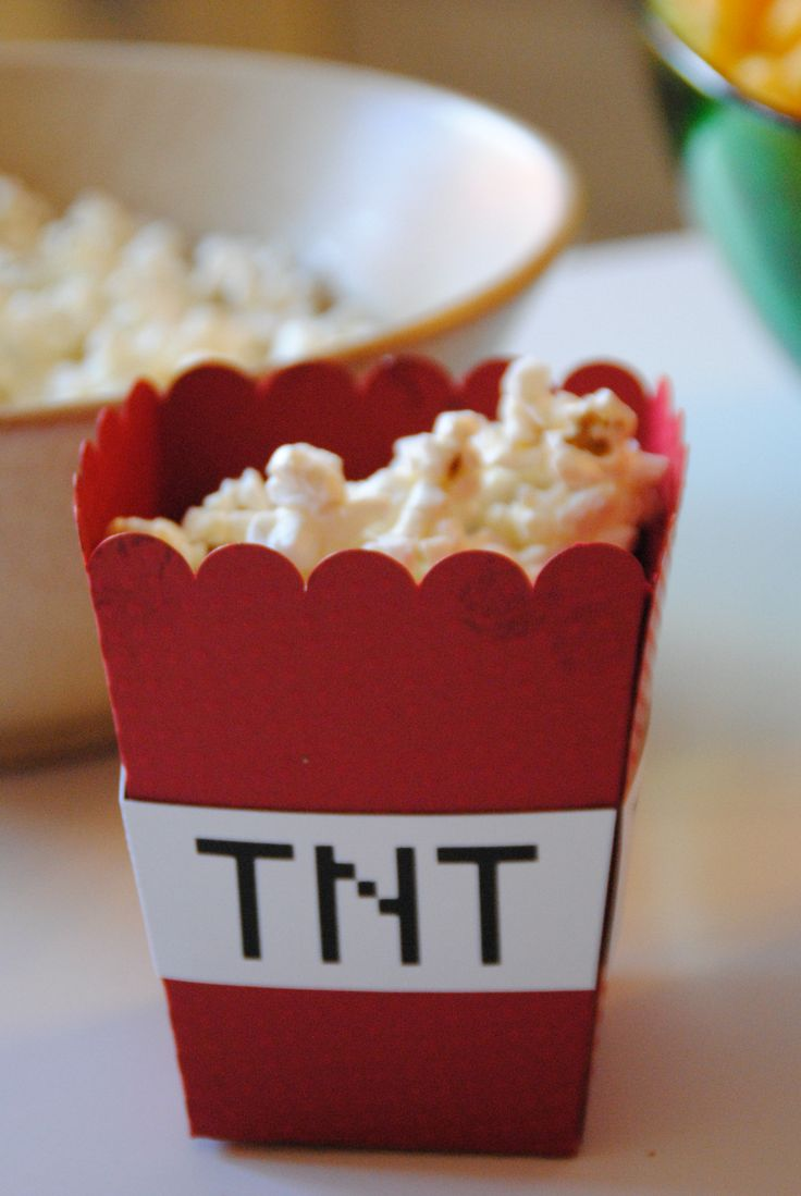 Popcorn holder, Minecraft TNT, Birthdayparty, Minecraft Party