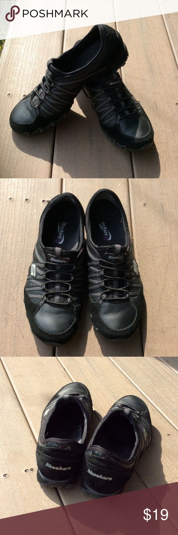 Black Skechers slip on shoes, like new, size 7.5 These are very gently worn skecher shoes in black. Perfect for slipping on for a quick walk. Super comfy and comes from a smoke free and pet free home. Size 7.5 runs true to size. Skechers Shoes Sneakers