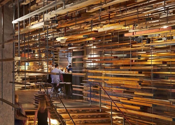 *플로팅 팀버 [ March Studio ] thousands of timber planks to staircase of Canberra's Hotel Hotel
