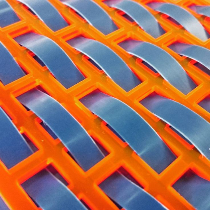 "Fabric manipulation - textile design - weaving - Sophie Minal on Instagram: ""♒Woven blue strips in a lasercut acrylic grid ♒…"