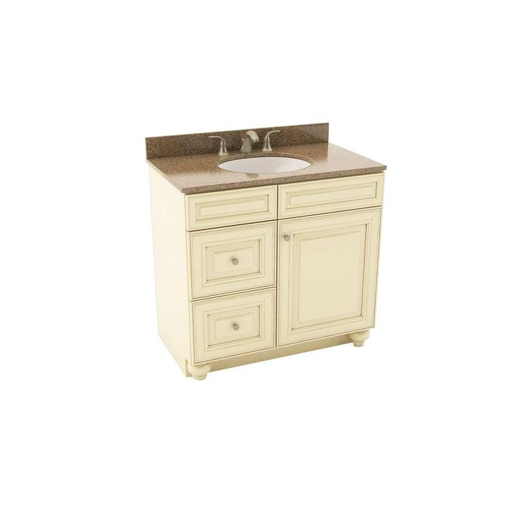 Savannah 37 In Vanity In Hazelnut With Left Drawers And