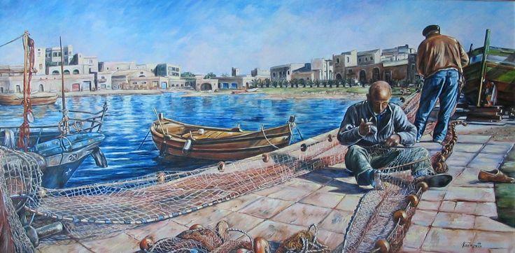 """""""Pescatori"""" olio su tela (50 x 100)"""