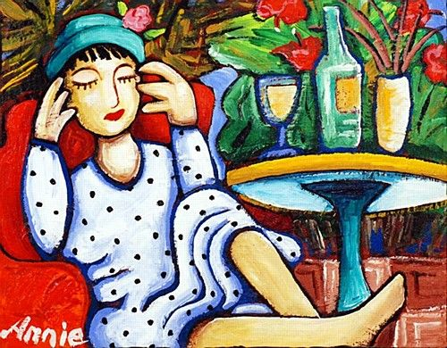 """Annie Robinson, """"A Glass of Pinot"""" #art #wine #pinot #bright  #painting  #DukeStreetGallery"""