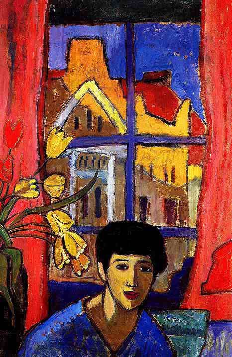 "Approaching, 1917  Gabriele Münter was one of the founders of ""Der Blaue Reiter""  and very much part of the modern art movement in Münich  at the beginning of this century.   Her treatment of colour, line and space is characteristic for  German Expressionist artists."