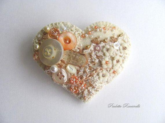Felt Heart Pin / Collage Pin by Paulette Racanelli of Beedeebabee on Etsy