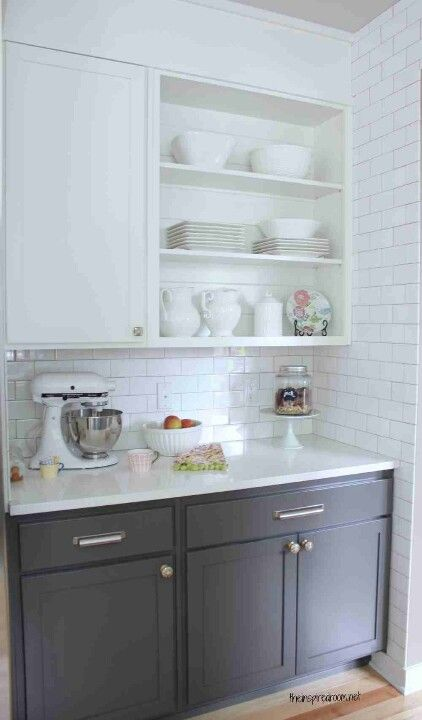 20 best images about grey lower cabinets on pinterest for Best paint sheen for kitchen cabinets