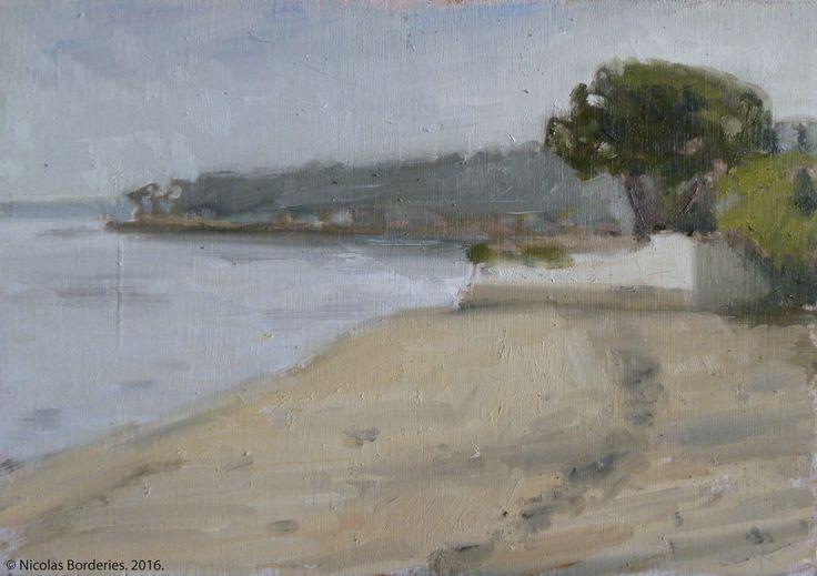 Le bassin d'Arcachon vue de la plage de Petit Piquey, oil on wood, 19 x 27 cm, 2016. 8/8