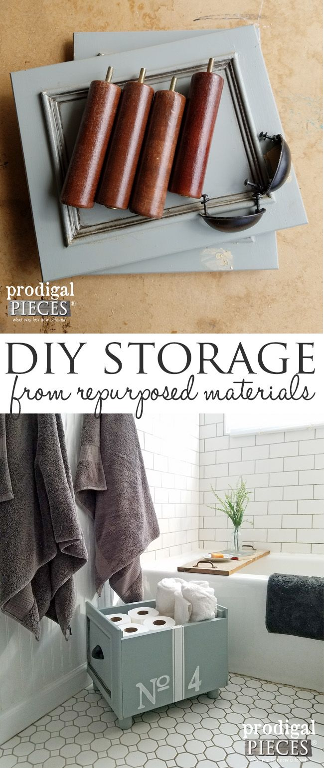 Make your house your home by creating DIY storage out of repurposed materials. Come see how Prodigal Pieces did it here at prodigalpieces.com