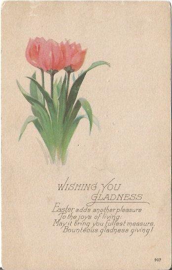 Pink Tulips Dutch Tulip Springtime EASTER Greeting Vintage Postcard by postcardsintheattic on Etsy