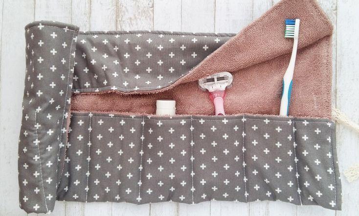 Toothbrush Travel Wrap, 1/4 yard + towel / towel. #clothes #clothes #trav …   – Nähen