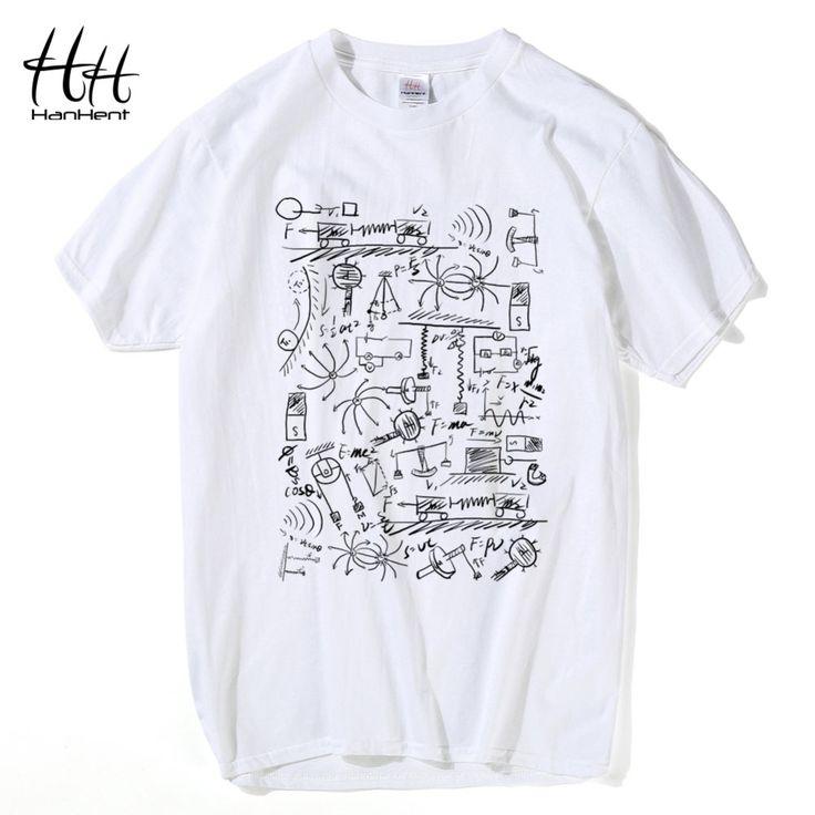 HanHent Physics T-shirts Men Creative Casual Tshirt Short Sleeve Tee shirt Math Cotton Tops The Big Bang Theory Geek T shirts