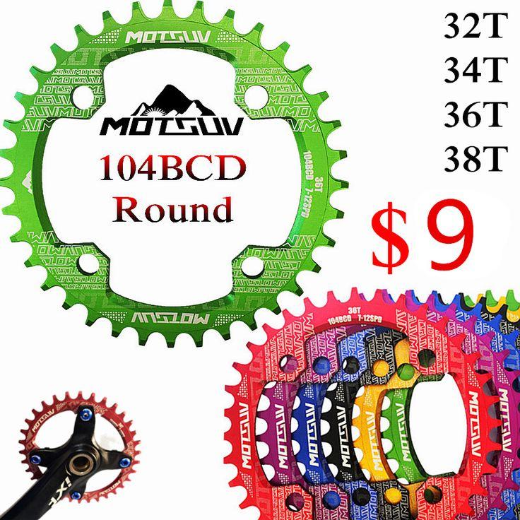 自転車クランク104BCDラウンド形状狭い広い32 t/34 t/36 t/38 t mtbチェーンリング自転車チェーンホイールバイクサークルクランクセット単板