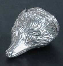 from the late 18th century  zilveren vossen kop snuif box
