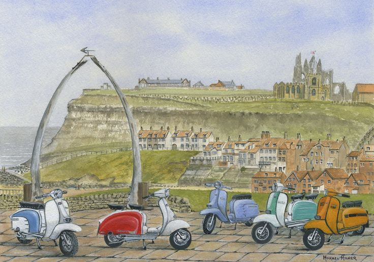 """006MM068 - The Italian Job visits Whitby - 16"""" x 12"""" Print Only £12.99 9.5"""" x 6.5"""" Mounted to 14"""" x 11"""" - £12.99"""