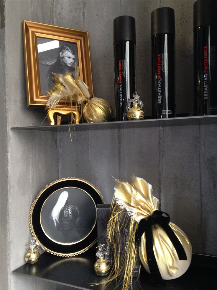 Black and gold Christmas window