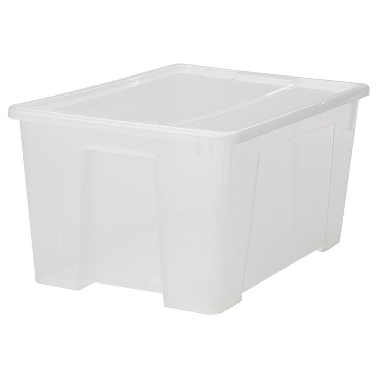 "SAMLA Box with lid - clear, 22 ½x15 ¼x11 ""/12 gallon - IKEA UNDER BED"