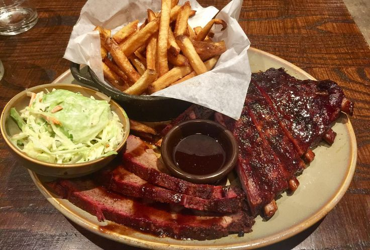 [I ate] Kansas City BBQ ribs brisket apple coleslaw and house-cut fries