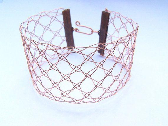 Metallic bobbin lace bracelet Hand-made copper cuff jewel jewelry Contemporary high fashion Lilas Lace