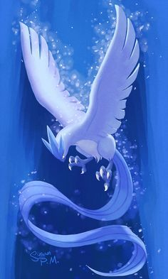 The only shiny spirit Pokémon known to date; or ally, is becoming stronger. She is the secondary spirit Pokémon of my world and is know for her biggest attributes, her shiny coat, the shackle on her wing made of pure ice, and she is most commonly portrayed as rising through the clouds. Great symbolism.