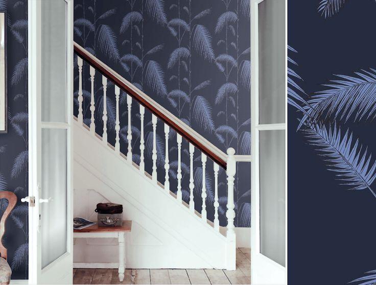 Palm Leaves, encre et violet, Collection Icons de Cole and Son