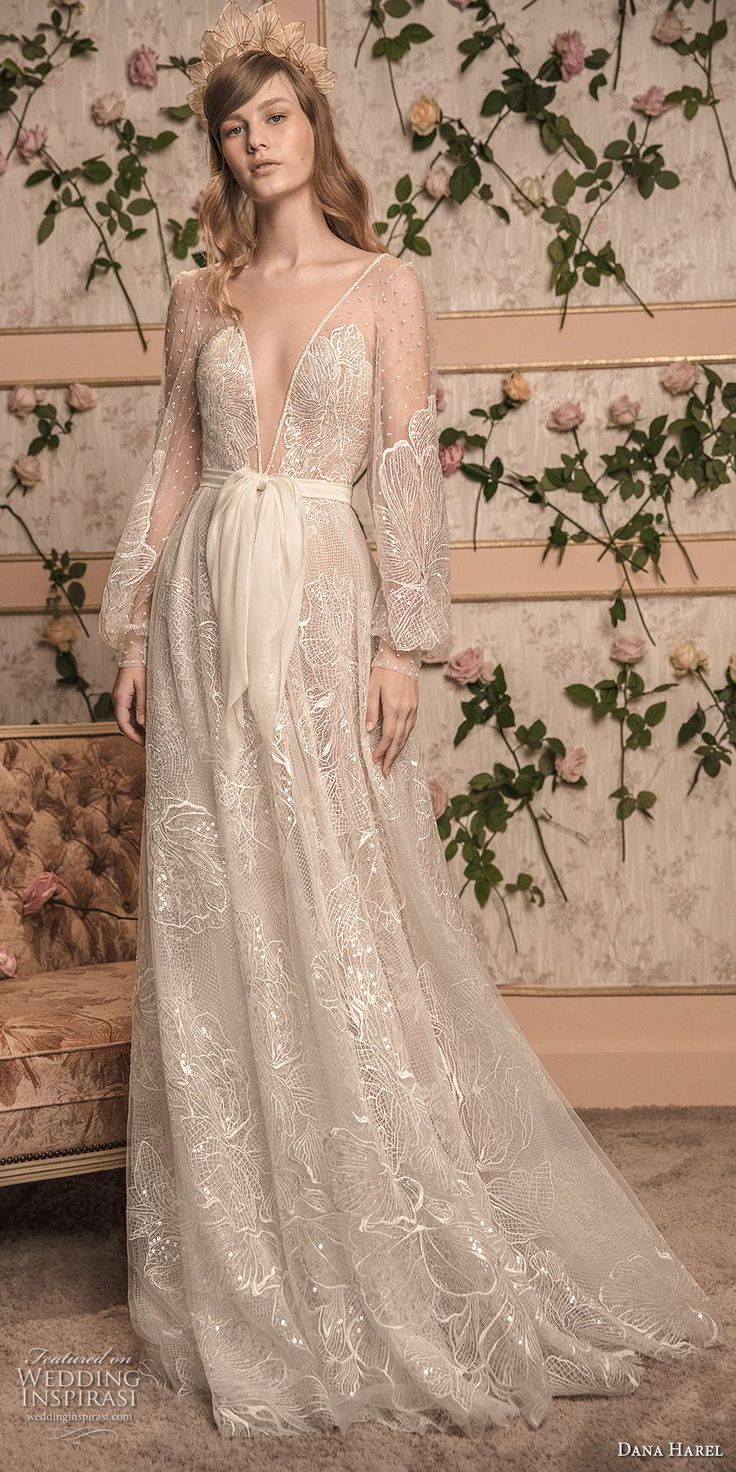 dana harel 2018 bridal long bishop sleeves deep v neck full embellishment romantic bohemian a line wedding open back sweep train (7) mv -- Dana Harel 2018 Wedding Dresses #wedding #bridal #weddings