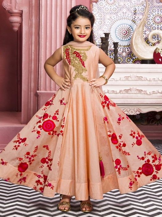 d97e0d7022bbe Girls Peach Silk Party Wear Anarkali Suit, kids wear fashion, indian fashion  for girls, girls anarkali dress