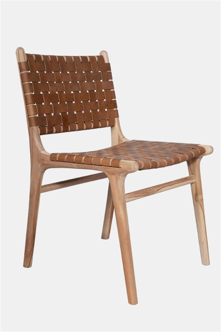 Leather dining chairs - Leather Dining Chair Strapping Teak Tan