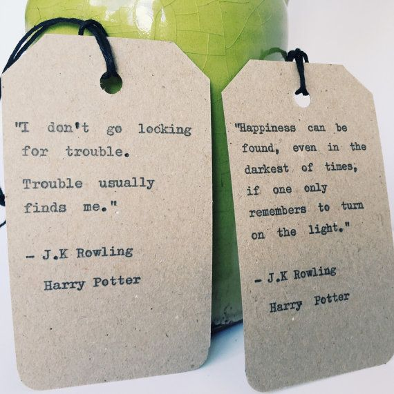 Harry Potter Bookmarks/ Hand typed Quotes/ JK by BookishGifts