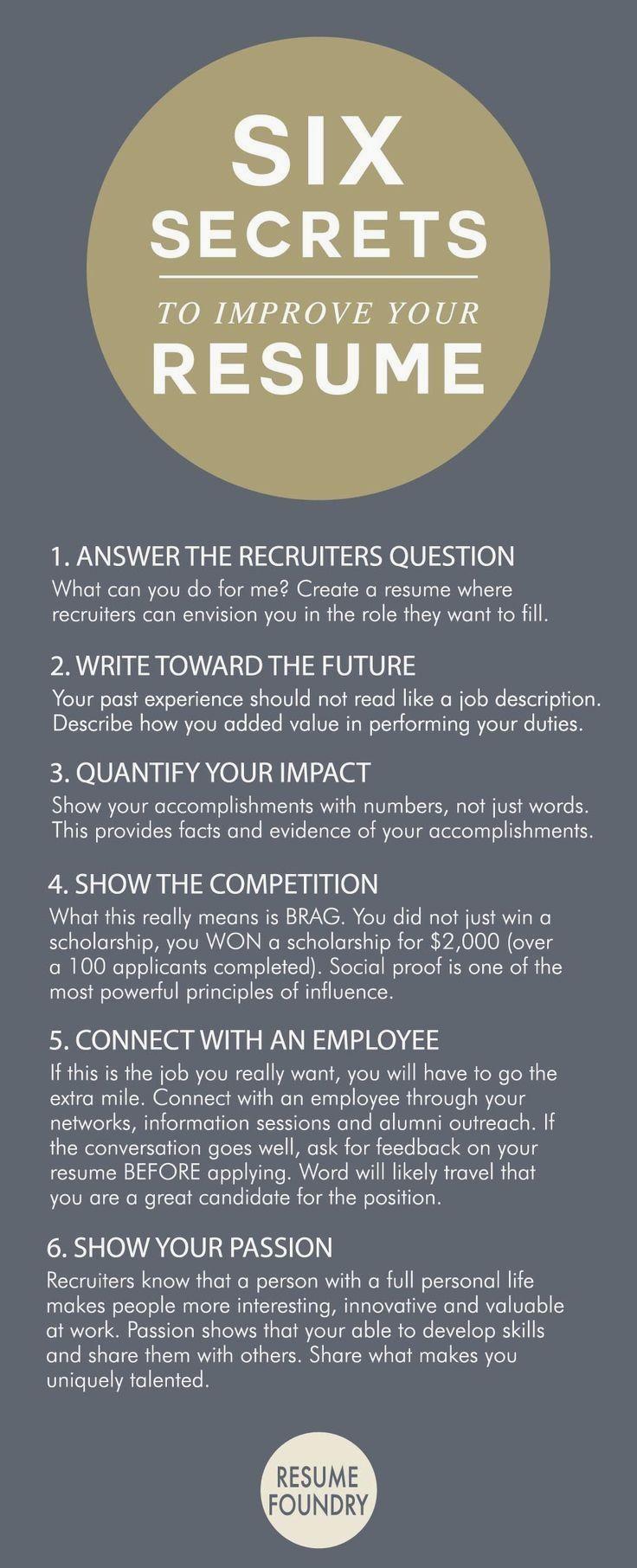 six secrets to improve your resume