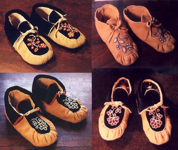 ojibwe moccasins  | Elk Hide Pucker-toe with Bead-edged Velvet (or Cloth) Cuff and Beaded ...