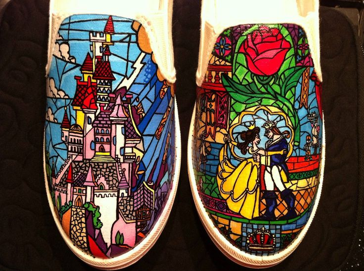 I hand painted the stained glass windows from Beauty and the Beast onto some Vans. Quite pleased with how they turned out. :) - Imgur